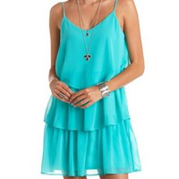 Tiered Chiffon Ruffle Shift Dress by Charlotte Russe - Turquoise