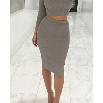 HOT TWO PIECE CUTE DRESS SWEATER DRESS LONG SLEEVE