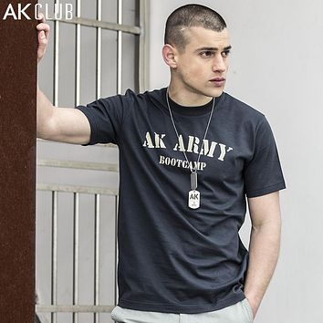 T-shirt Military Style Army Boot camp Vintage Series Letter Print short Sleeve Men T-shirt