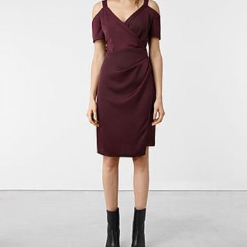 ALLSAINTS CA: Womens Cadia Dress (Maroon)