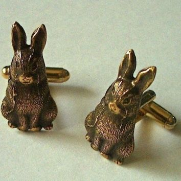Rabbit Cufflinks - BRASS and CLASS - Original Design by Cosmic Firefly