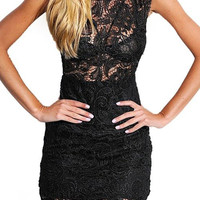 Black Lace Dress With High-neck