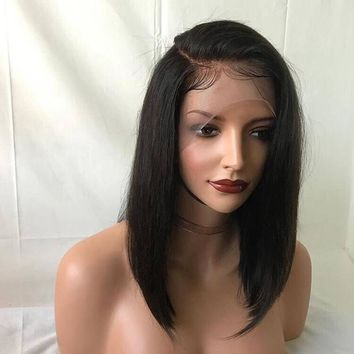 "DLME Short Bob Wig 10""-14"" inch Black Wig Silky Straight Free Part Heat Resistant Glueless Synthetic Lace Front Wigs For Women"