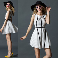 White Diagonal Stripes Black Lines Stitching   A-Line Swing Mini Dress