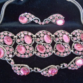 Vintage Pink Rhinestone Parure 1950's Necklace Bracelet Earring Set Collectible Hollywood Regency Jewelry Rockabilly Unsigned Selro/Selini