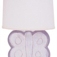 Lavender Butterfly Character Personalized Ceramic Figure Lamp