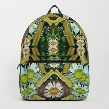 Bread sticks and fantasy flowers in a rainbow Backpack by Pepita Selles