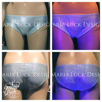 SALE silver/white holographic booty shorts boy shorts briefs panties by Maria Luck