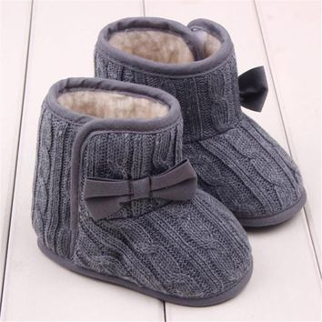 Baby Winter Shoes Children Girls Knitted Wool Line Warm Bowknot Soft Sole First Walkers chaussures de bebe