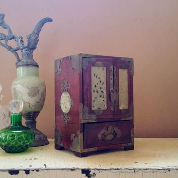 Vintage Chinese Armoire Jewelry Box with Inlaid Carved Jade