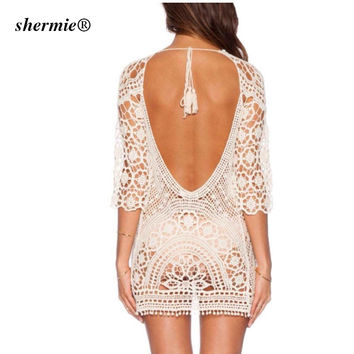 Beach Cover Up Sexy Robe De Plage Crochet Bikini Tunic Sarongs Swimwear Women crochet beach dress Saida De Praia plage