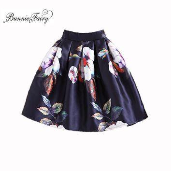BunniesFairy Spring Autumn New Fashion Girls Vintage Retro Flower Floral Print High Waist A-Line Mini Skater Skirt Above Knee