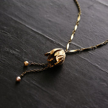 brass pendant necklace - BLOOM - long necklace - tassel necklace - tulip flower - gift