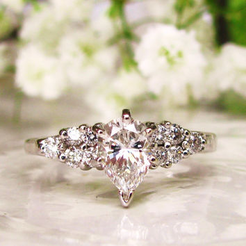 Vintage Engagement Ring Exquisite Pear Cut Diamond Ring 1.00ctw Diamond Wedding Ring 14K White Gold Teardrop Diamond Ring Size 7!