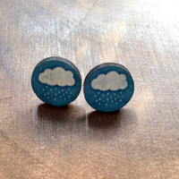 Cloud Post Earrings, Wood Post Earrings, Kawaii Earrings, Wood Stud, Post Earrings, Kawaii Jewelry, Ear Candy, Teen Earrings
