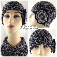Hat Hand Crochet Ladies Black Gray Flower Vintage Button Center