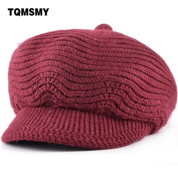 851e354d00d TQMSMY Winter Beret Women Warm Knitted Thicken Rabbit Fur Wool B