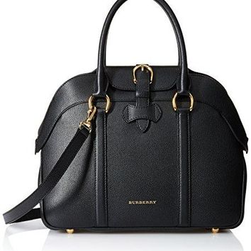 Burberry Women's Medium Leather Bowling Bag, Black