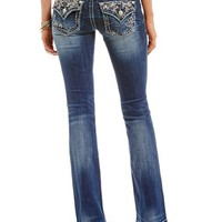 Miss Me Colorful Stitch Slim Bootcut Jeans