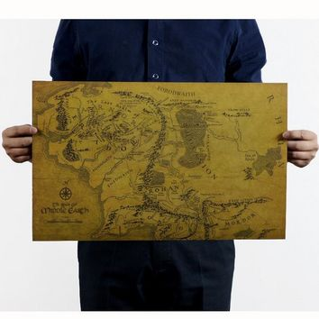 Free shipping,The Lord of the Rings Middle-earth map/kraft paper/bar poster/Retro Poster/decorative painting 51x35.5cm