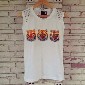 Studded Tiger Print T-shirt in White / Studded Tank Top