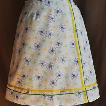 A-Line Skirt -- White with Blue and Yellow Floral Print -- Yellow and Blue Trim -- Abstract Daisies