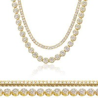 "Jewelry Kay style Men's Women's Gold Toned Iced 20"" Flower Chain & 16"" Tennis Chain Necklace Set"