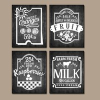 KITCHEN Wall Art, Chalkboard Quotes, Fruit Antique Signs, Farmhouse Decor, Cafe Rustic Kitchen decor, Canvas or Print, Set of 4 Wall Decor