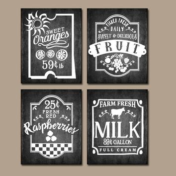 KITCHEN Wall Art, Chalkboard Quotes, Fruit Antique Signs, Farmhouse Decor, Cafe Rustic Kitchen decor, Canvas or Print Set of 4 Wall Decor