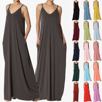 TheMogan S~3X Casual Beach V-Neck Soft Jersey Cami Long Maxi Dress With Pocket