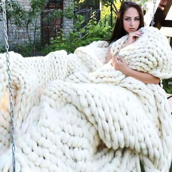 Chunky Hand Knitted Blanket Home Decor Throw Blankets Wedding Anniversary Gift Photography Props