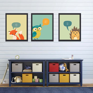 Little Boy Wall Art ~ Animal Print Poster Kids Playroom Decor ~ Newborn Boy Gifts, Nursery Prints New Mum Gift, Play Room Idea Boys Artwork