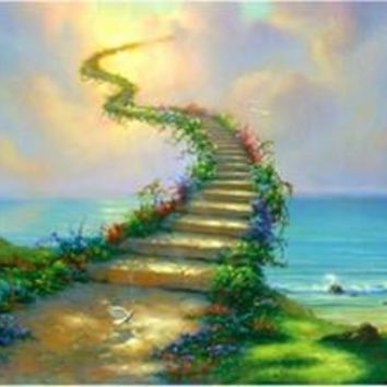 Modern diy oil painting wall art flowers pictures Painting by numbers cuadros decoracion Jim warren Stairway to heaven WQ006
