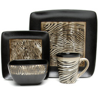 Gibson Elite Mountain Zebra 16-piece Dinnerware Set
