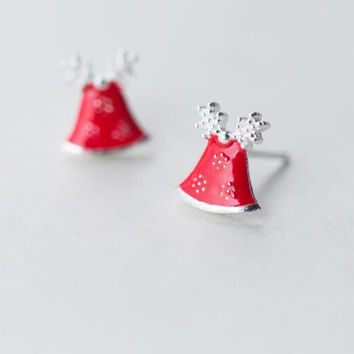 Christmas gifts-925 sterling silver sweet little red riding hood stud earrings + Nice gift box ALQ