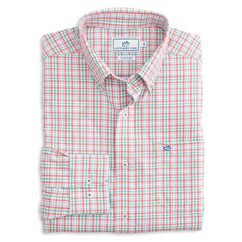 Surfsong Plaid Intercoastal Performance Shirt in Sunset Coral by Southern Tide