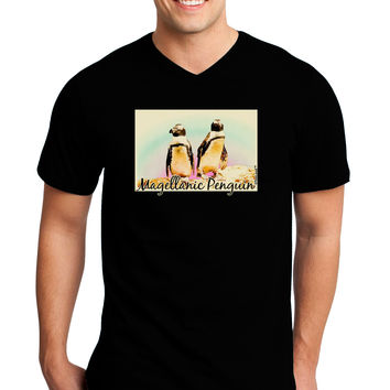 Magellanic Penguin Text Adult Dark V-Neck T-Shirt