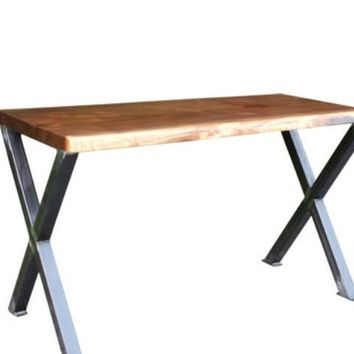 Live Edge Black Walnut Desk with Industrial X style Legs
