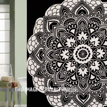 Black  White Rangoli Mandala Bath Shower Curtain on RoyalFurnish.com