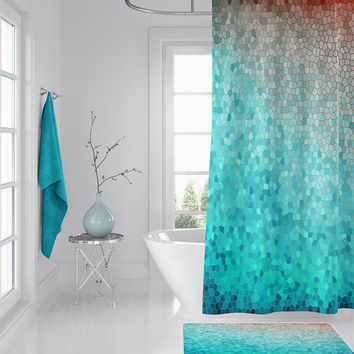 "Mint and Peach Mosaic Shower Curtain - ""Martha""  curtain teal, coastal decor, bath, home"