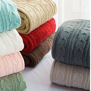 High Quality 100% Cotton Handmade Soft Knitted Blanket and Throw