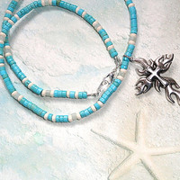 Mens Cross Necklace / Man's Cross Necklace / Mens Turquoise Necklace