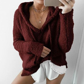 Fall and Winter Womens Clothing Fashion Hoodie Sweater Casual Loose Long Sleeve Sweater Pullover Women