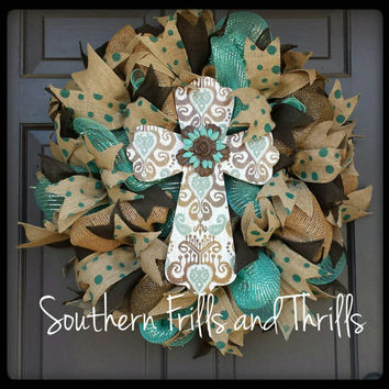 Cross Wreath, Deco Mesh Wreath, Burlap Wreath, Burlap Door Hanger, Cross Door Hanger, Wreath, Cross