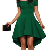 US Stock Women Off Shoulder Mini Dress Evening Party Prom Cocktail Swing Dress