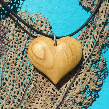 Love charm heart pendant in exotic satin wood