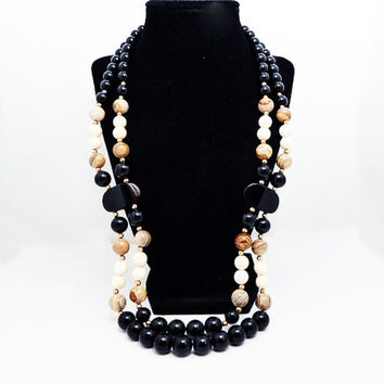 Modernist Double Strand Necklace - Apple Coral Tan Beads, Scenic Jasper Beads, Black Onyx Beads, White Glass Beads - Vintage 1980s 1990s