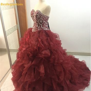 New Luxury Burgundy  Quinceanera Dresses 2017 Ball Gowns Organza Sweetheart Crystals Sweet 16 Dresses Party Gowns QA849