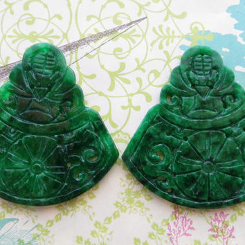 Green carved burma jade pendants for necklace, gemstone supplies for handcrafted jewels, wholesale burma jade