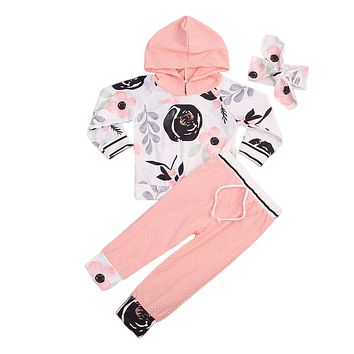 3pcs Cute Babies Girl Hooded Clothing Set Toddler Infant Newborn Baby Girls Hoodie Tops+Pants+Headband Outfits Sets Clothes